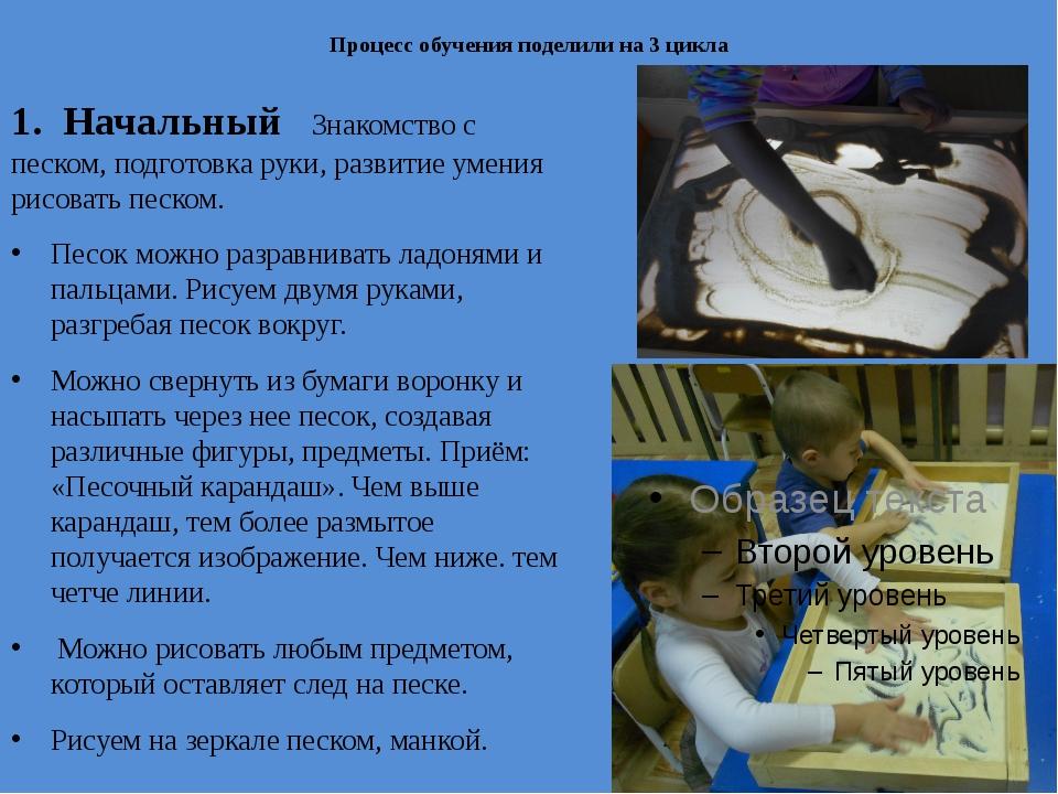 Процесс обучения поделили на 3 цикла 1. Начальный Знакомство с песком, подго...