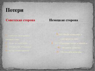 Советская сторона 1 129 619 чел. (безвозвратные и санитарные потери), 524 тыс