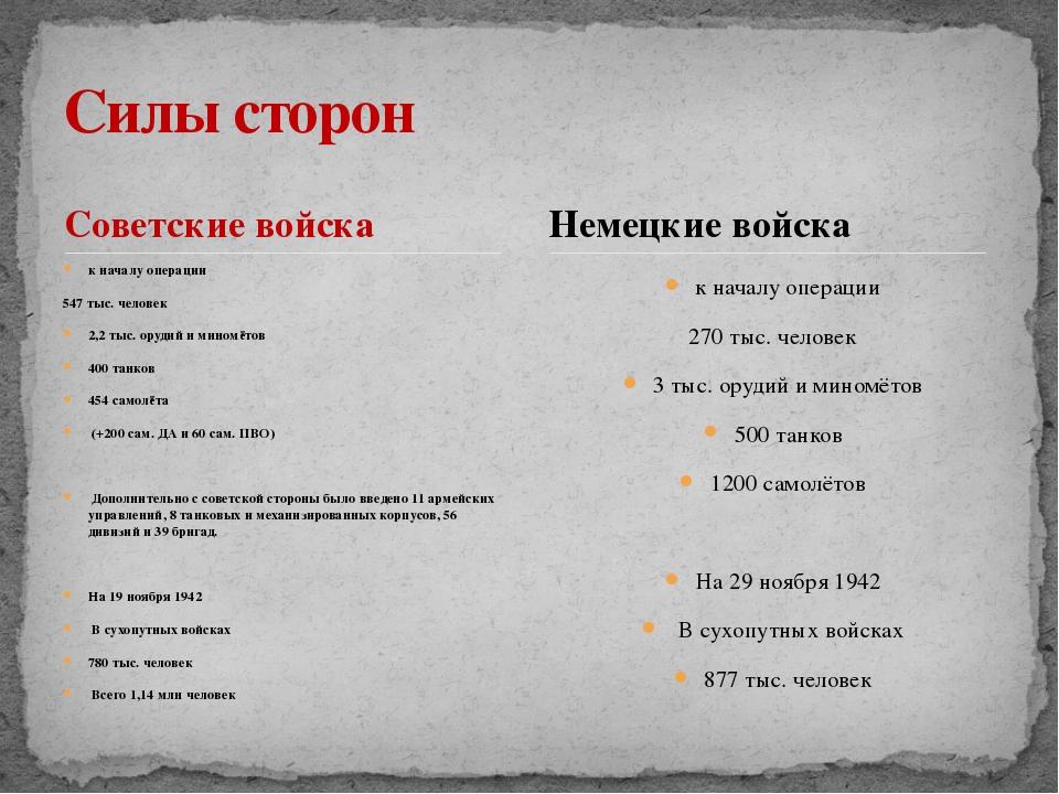 Советские войска к началу операции 547 тыс. человек 2,2 тыс. орудий и миномёт...