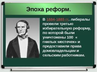 Эпоха реформ. В 1884-1885 гг. либералы провели третью избирательную реформу,