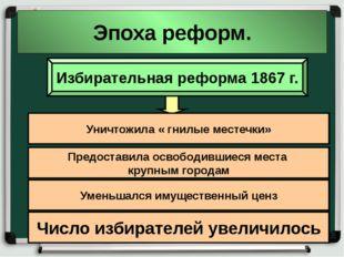 Эпоха реформ. Избирательная реформа 1867 г. Уничтожила « гнилые местечки» Пре