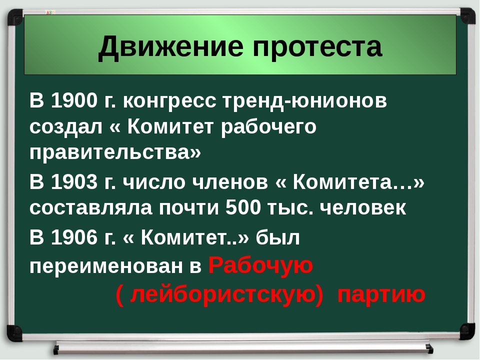 Движение протеста В 1900 г. конгресс тренд-юнионов создал « Комитет рабочего...