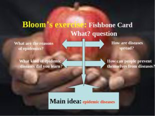 Bloom's exercise: Fishbone Card What? question Main idea: epidemic diseases H
