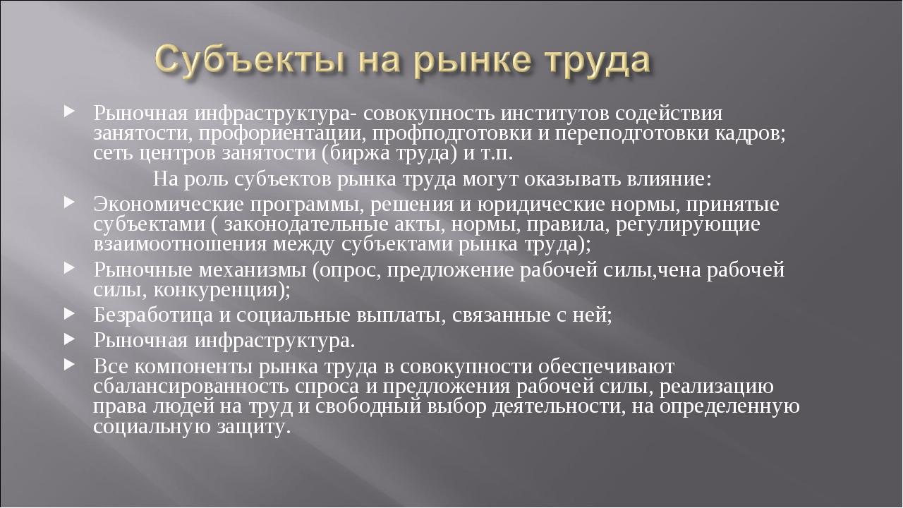 Рыночная инфраструктура- совокупность институтов содействия занятости, профор...