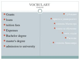 VOCBULARY EXERCISE Grants loans tuition fees Expenses Bachelor degree master'