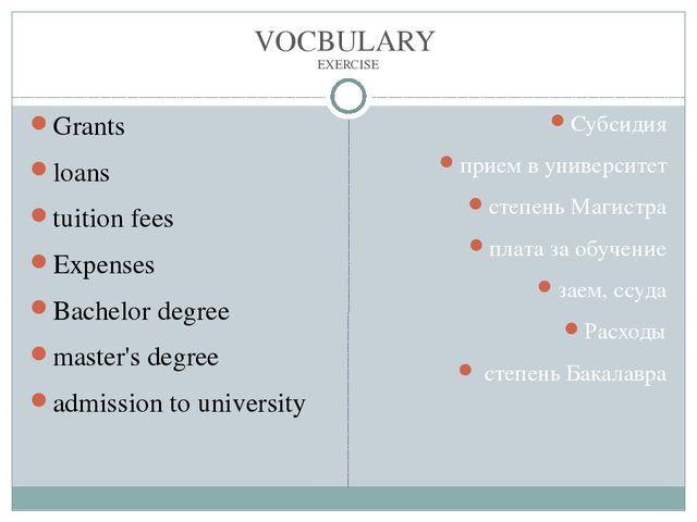 VOCBULARY EXERCISE Grants loans tuition fees Expenses Bachelor degree master'...