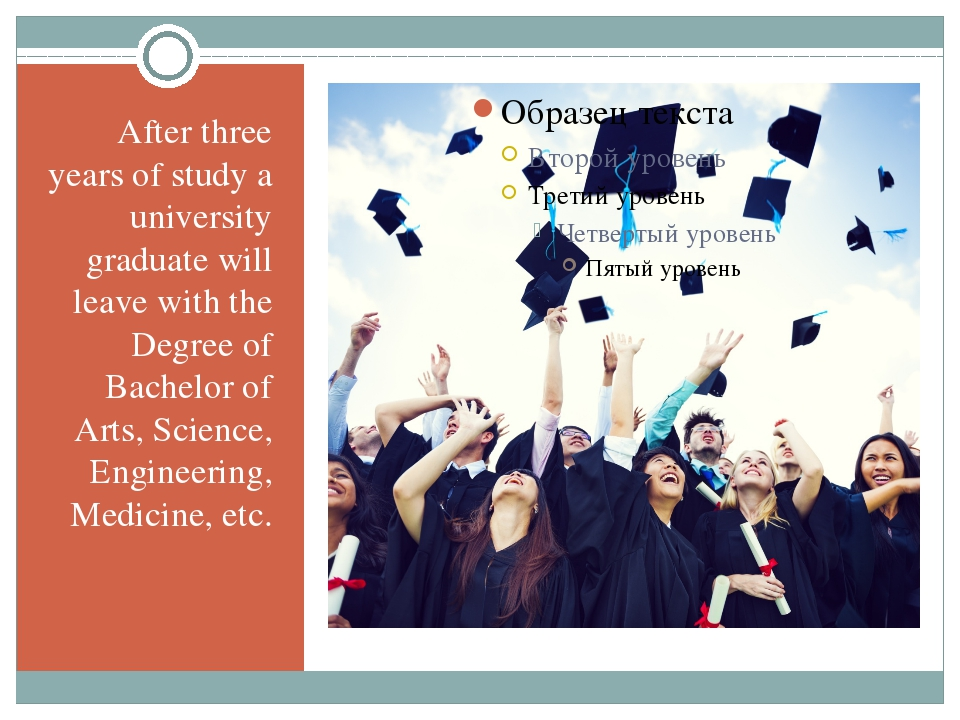 After three years of study a university graduate will leave with the Degree o...