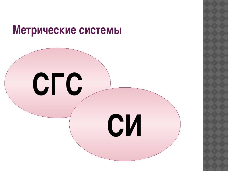 Метрические системы СГС СИ