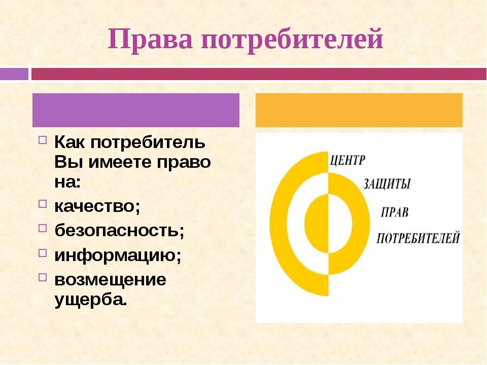 Права потребителей Как потребитель Вы имеете право на: качество; безопасност...