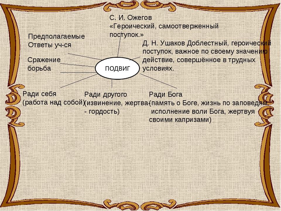 Предполагаемые Ответы уч-ся Сражение борьба С. И. Ожегов «Героический, самоот...