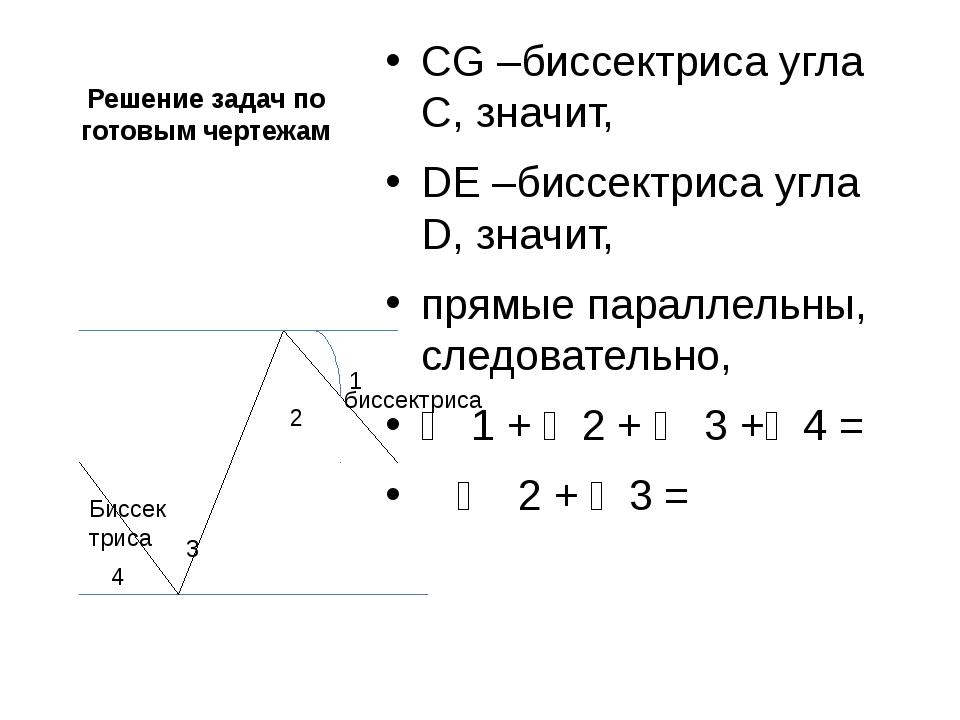 Решение задач по готовым чертежам CG –биссектриса угла С, значит, DЕ –биссект...