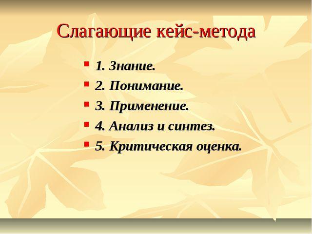 Слагающие кейс-метода 1. Знание. 2. Понимание. 3. Применение. 4. Анализ и син...