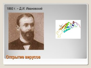 Открытие вирусов 1892 г. – Д.И. Ивановский