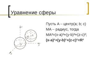 Уравнение сферы Пусть A – центр(a; b; c) MA – радиус, тогда MA²=(x-a)²+(y-b)²