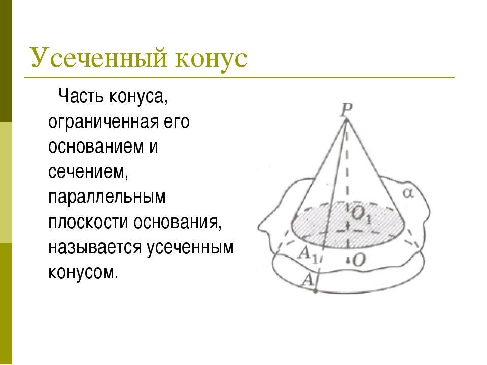 Усеченный конус Часть конуса, ограниченная его основанием и сечением, паралле...