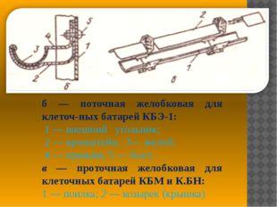 б — поточная желобковая для клеточных батарей КБЭ-1: 1 — внешний угольник; 2