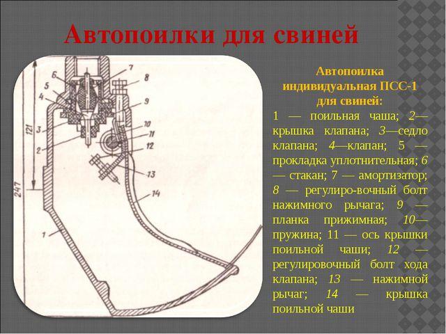 Автопоилка индивидуальная ПСС-1 для свиней: 1 — поильная чаша; 2— крышка клап...