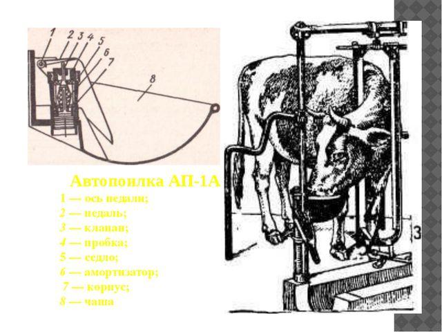 Автопоилка АП-1А 1 — ось педали; 2 — педаль; 3 — клапан; 4 — пробка; 5 — седл...