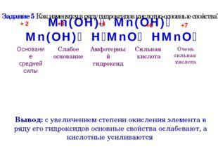 Mn(OH)₂ Mn(OH)₃ Mn(OH)₄ H₂MnO₄ HMnO₄ Вывод: с увеличением степени окисления э