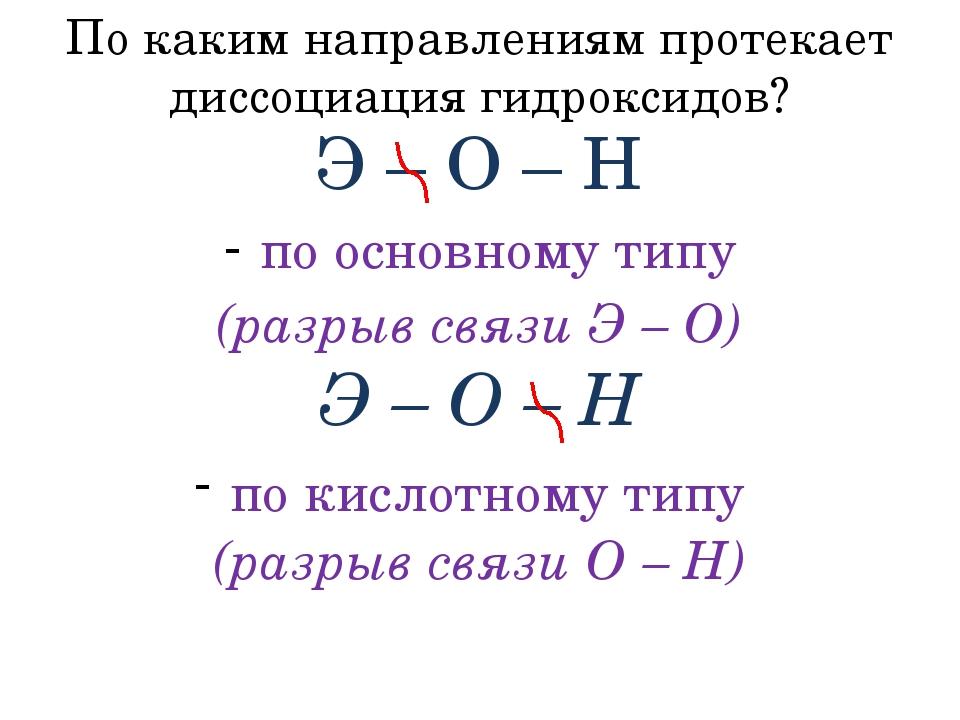 По каким направлениям протекает диссоциация гидроксидов? Э – О – Н по основно...