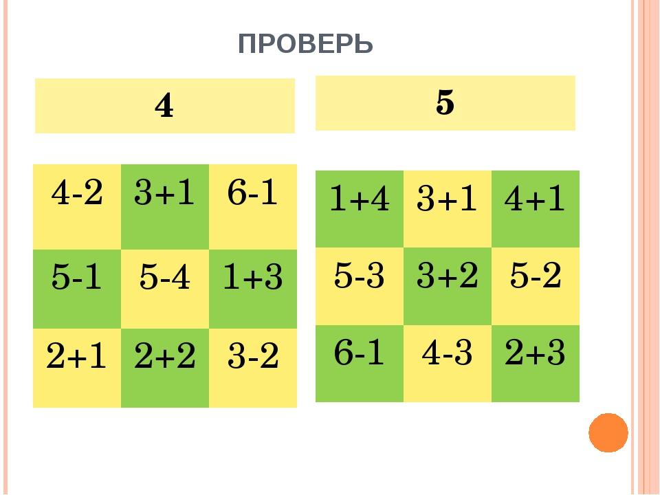 ПРОВЕРЬ 4 5 4-23+16-1 5-15-41+3 2+12+23-2 1+43+14+1 5-33+25-2 6-14...