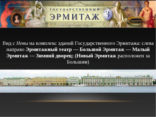 Вид с Невы на комплекс зданий Государственного Эрмитажа: слева направо Эрмита...