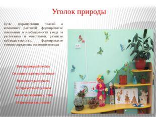 Уголок природы Цель: формирование знаний о комнатных растений; формирование п