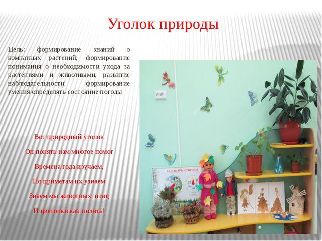 Уголок природы Цель: формирование знаний о комнатных растений; формирование п...