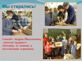 Мы старались! Спасибо Андрею Николаевичу, учителю трудового обучения, за помо