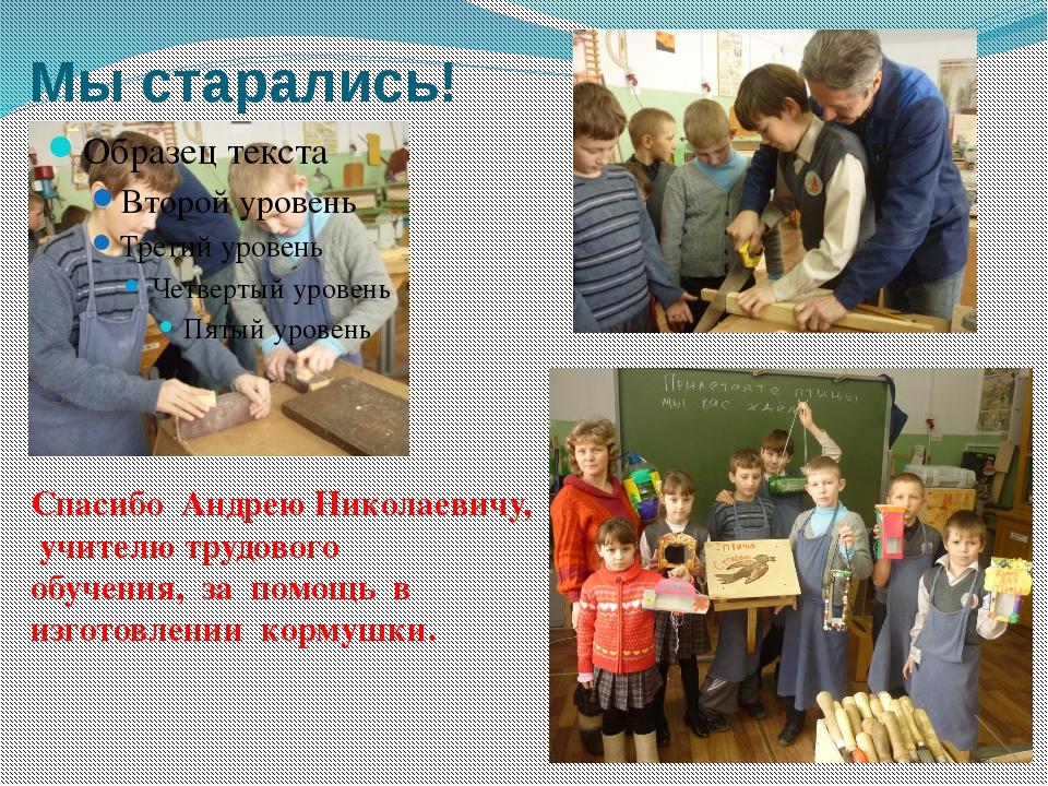 Мы старались! Спасибо Андрею Николаевичу, учителю трудового обучения, за помо...