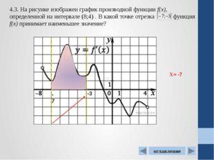 . 4.7. На рисунке изображен график производной функции f(x). Найдите абсциссу