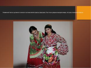 Неизменной частью цыганского женского костюма являлся фартук (фартушка). Как