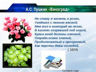 А.С. Пушкин «Виноград» Не стану я жалеть о розах, Увядших с легкою весной; Мн