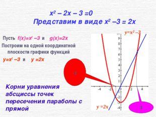 x2 – 2x – 3 =0 Представим в виде x2 –3 = 2x Пусть f(x)=x2 –3 и g(x)=2x Постро