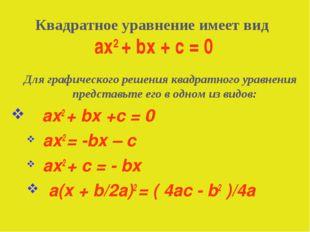Для графического решения квадратного уравнения представьте его в одном из ви