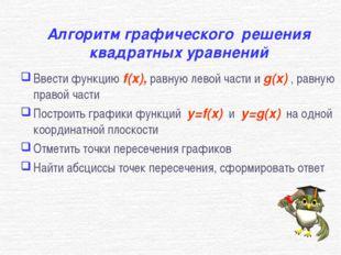 Алгоритм графического решения квадратных уравнений Ввести функцию f(x), равну