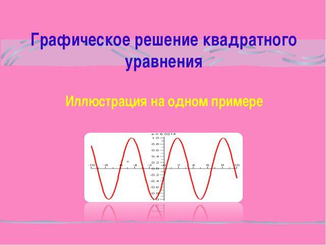 Графическое решение квадратного уравнения Иллюстрация на одном примере
