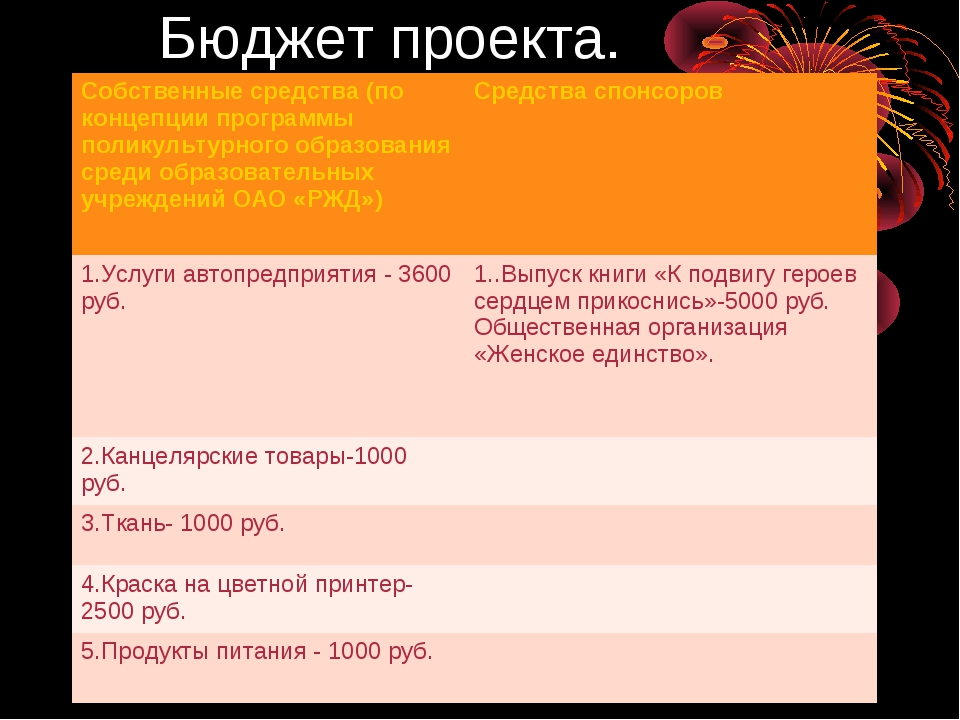 Бюджет проекта. Собственные средства (по концепции программы поликультурного...