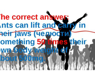 The correct answer: Ants can lift and carry in their jaws (челюсти) something