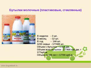 Бутылки молочные (пластиковые, стеклянные) В неделю - 3 шт. В месяц - 12 шт.