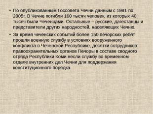 По опубликованным Госсовета Чечни данным с 1991 по 2005г. В Чечне погибли 16