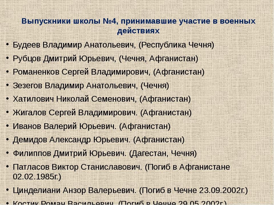 Выпускники школы №4, принимавшие участие в военных действиях Будеев Владимир...
