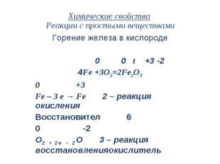 Химические свойства Реакции с простыми веществами Горение железа в кислороде