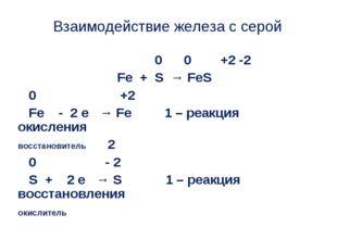 Взаимодействие железа с серой 0 0 +2 -2 Fe + S → FeS 0 +2 Fe - 2 e → Fe 1 – р