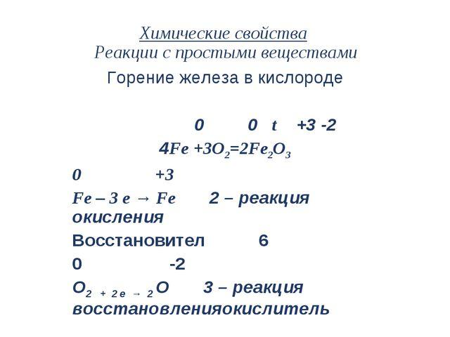 Химические свойства Реакции с простыми веществами Горение железа в кислороде...