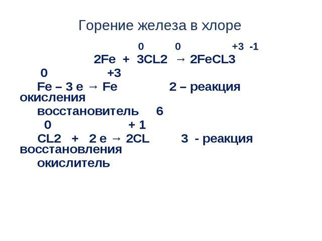 Горение железа в хлоре 0 0 +3 -1 2Fe + 3CL2 → 2FeCL3 0 +3 Fe – 3 e → Fe 2 – р...