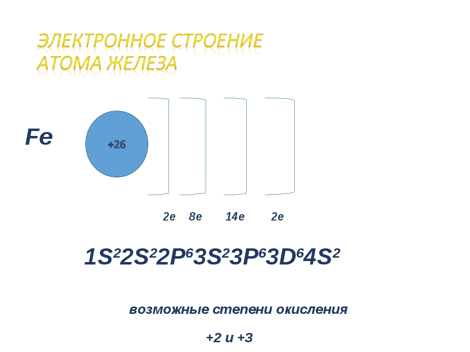 Fe 2е 8е 14е 2е 1S22S22P63S23P63D64S2 возможные степени окисления +2 и +3