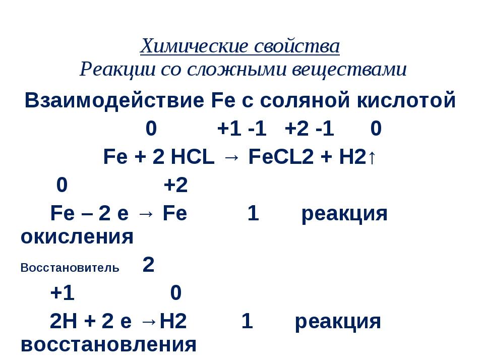 Химические свойства Реакции со сложными веществами Взаимодействие Fe с соляно...