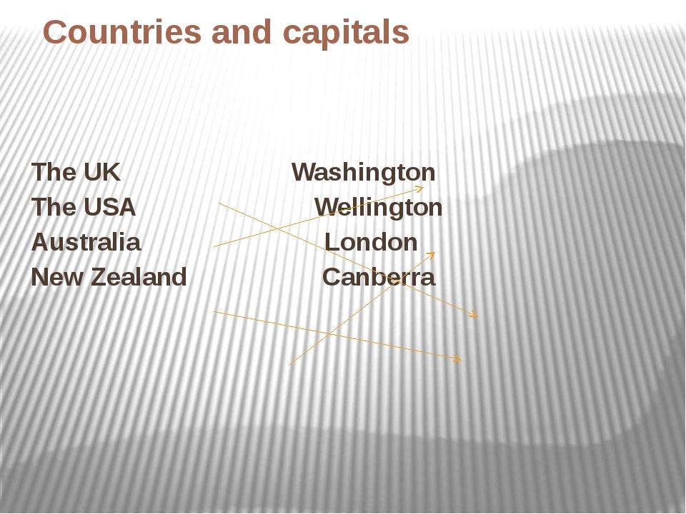 Countries and capitals The UK Washington The USA Wellington Australia London...