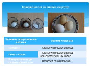 Влияние кислот на яичную скорлупу. Название газированного напитка Яичная скор